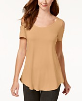 601564db552e36 JM Collection Cold-Shoulder Swing T-Shirt