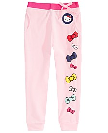 Hello Kitty Little Girls Bow-Print Jogger Pants