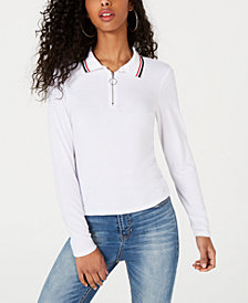 Ultra Flirt Juniors' Ribbed Zip-Neck Polo Top