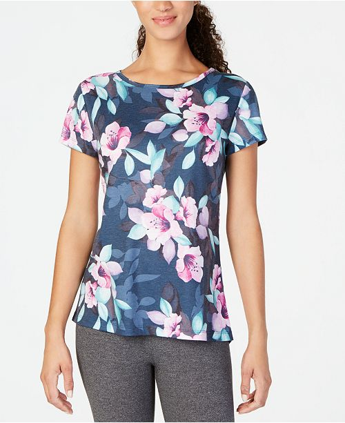 Ideology Botanic Siren Printed Keyhole-Back Top, Created for Macy's