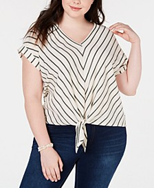 Trendy Plus Size Chevron-Striped Top