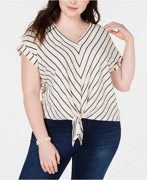 Monteau Trendy Plus Size Chevron-Striped Top