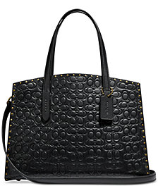 COACH Charlie Carryall in Signature Embossed Leather with Rivets