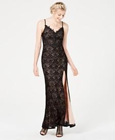 City Studios Juniors' Lace Appliqué Slip Dress