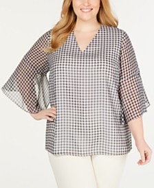 Calvin Klein Plus Size Gingham Flare-Sleeve Top