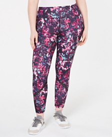 Ideology Plus Size Printed Mesh-Trimmed Leggings, Created for Macy's