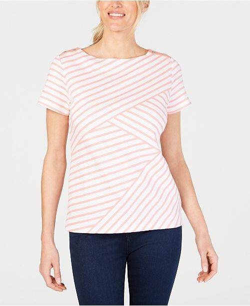 c30ff4b682275c ... Karen Scott Petite Striped Boat-Neck Top, Created for Macy's ...