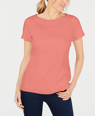 Karen Scott Scallop-Neck Cotton Top, Created for Macy's