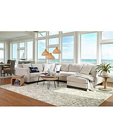 "SHOP THE LOOK. Elliot II 138"" Fabric 3-Pc. Chaise Sectional + Piper Bunching Coffee Table + Accessories"