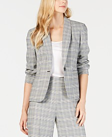 Nine West Plaid Single-Button Blazer