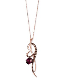"Raspberry Rhodolite® (2 ct. t.w.) & Chocolate Quartz® (1/2 ct. t.w.) 18"" Pendant Necklace in 14k Rose Gold"