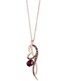 "Le Vian® Raspberry Rhodolite® (2 ct. t.w.) & Chocolate Quartz® (1/2 ct. t.w.) 18"" Pendant Necklace in 14k Rose Gold"