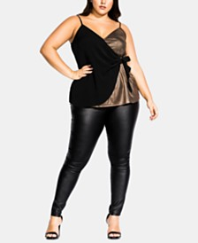 City Chic Trendy Plus Size Sliding Doors Wrap Top