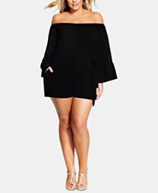 City Chic Trendy Plus Size Off-The-Shoulder Romper