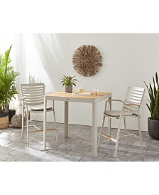 Modern Tropic Teak Outdoor 5-Pc. Bar Set (Bar Table & 4 Bar Chairs), Created For Macy's