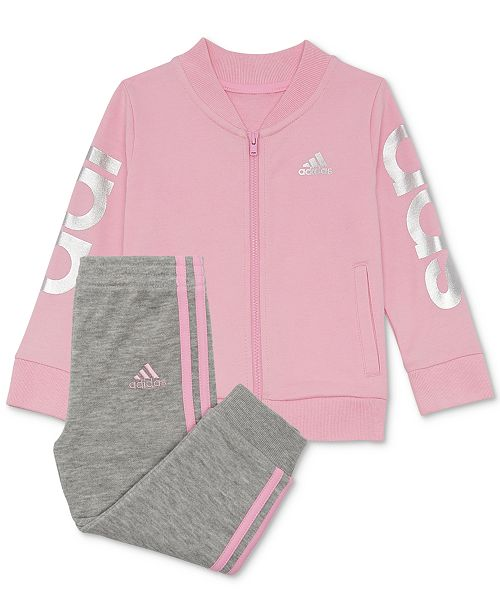 ac68622edf9 ... Set; adidas Baby Girls 2-Pc. Logo Cotton Track Jacket & Jogger Pants ...