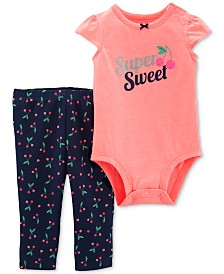 Carter's Baby Girls 2-Pc. Super Sweet Graphic Bodysuit & Cherry-Print Pants Set