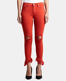 Halle Ripped Asymmetrical-Hem Jeans
