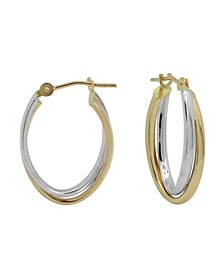 """Two-Tone Hoop Earrings in 18k Yellow and white gold 7/16"""""""