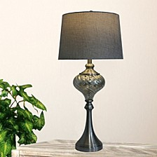 """1594 Pair of 30"""" Brush Steel And Mercury Glass Table Lamps"""