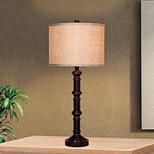 """Fangio Lighting's 1596ORB Pair of 31"""" Stacked Table Lamps"""