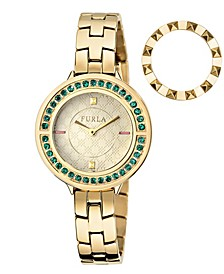 Women's Club Gold Dial Stainless Steel Watch