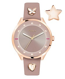 Women's Pin Pink Dial Calfskin Leather Watch