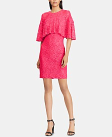 American Living Floral-Lace Overlay Dress
