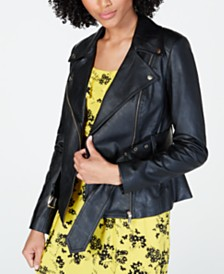 MICHAEL Michael Kors Belted Faux-Leather Moto Jacket