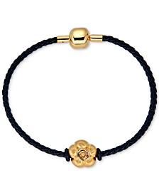 Flower Charm Leather Bracelet in 22k Gold