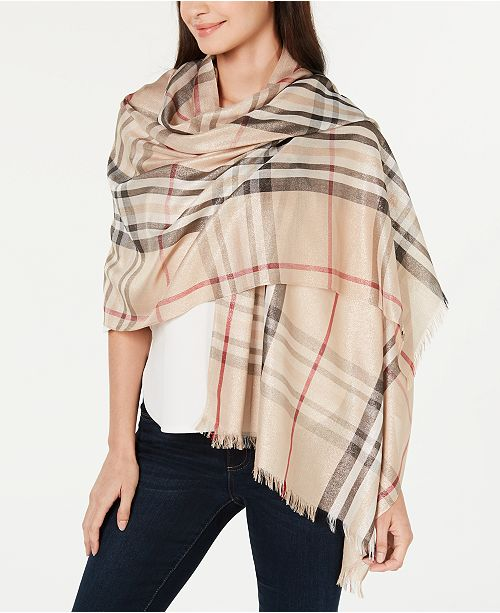 V. Fraas Classic Plaid Shine Wrap