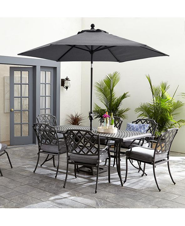 """Furniture Vintage II Outdoor Cast Aluminum 7-Pc. Dining Set (72"""" X 38"""" Table & 6 Dining Chairs) With Sunbrella® Cushions, Created for Macy's"""