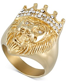 Crystal Lion Ring in Gold-Tone Ion-Plated Stainless Steel