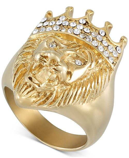 LEGACY for MEN by Simone I. Smith Crystal Lion Ring in Gold-Tone Ion-Plated Stainless Steel