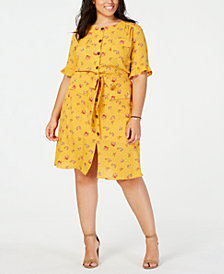 Monteau Trendy Plus Size Printed Shirtdress