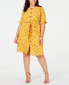 7a3e07fbd89 Monteau Trendy Plus Size Printed Shirtdress