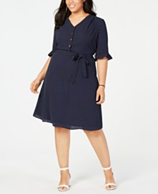 Monteau Trendy Plus Size Printed Button-Up Dress