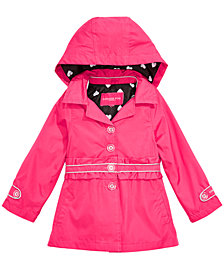 London Fog Big Girls Hooded Ruffle-Waist Trench Coat