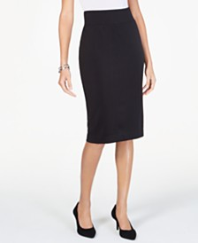 Alfani Petite Wide-Waistband Curvy Scuba Pencil Skirt, Created for Macy's