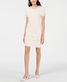 Betsey Johnson Imitation Pearl Bouclé Tweed Dress