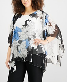 JM Collection Plus Size Floral-Print Poncho Top, Created for Macy's