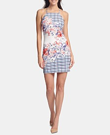 GUESS Apron-Neck Floral Bodycon Dress