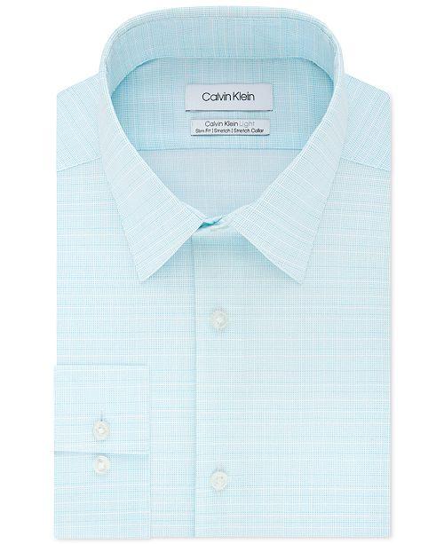 Calvin Klein Calvin Klein Men's Light Slim-Fit Performance Stretch Tonal Check Dress Shirt