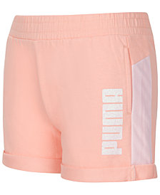 Puma Big Girls French Terry Logo Shorts