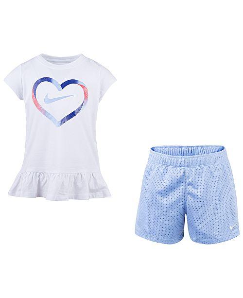 0b1db350e Nike Toddler Girls 2-Pc. Heart-Print T-Shirt & Shorts Set & Reviews ...