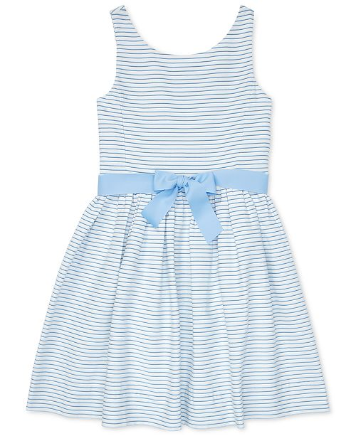 Polo Ralph Lauren Big Girls Striped Fit & Flare Cotton Dress