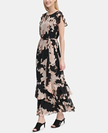 46944e2bb070 Tommy Hilfiger Eloise Floral Chiffon Flutter Sleeve Maxi Dress ...