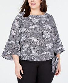 MICHAEL Michael Kors Plus Size Side-Tie Top