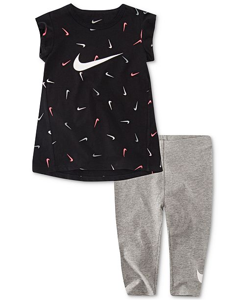 Nike Little Girls 2-Pc. Swooshfetti Logo T-Shirt & Capri Legging Set