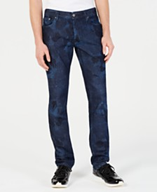 Just Cavalli Men's Slim-Fit Palm-Leaf Jeans